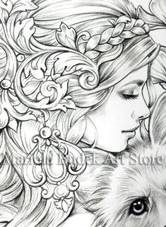 Cute Beast Mariola Budek Premium Coloring Page Adult Coloring Book Pages, Coloring Pages To Print, Colouring Pages, Printable Coloring Pages, Coloring Books, Watercolor Deer, Baby Cross Stitch Patterns, Bff Drawings, Fairy Coloring