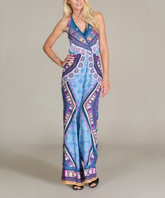 Take a look at this Blue & Purple Geo Surplice Jumpsuit on zulily today!