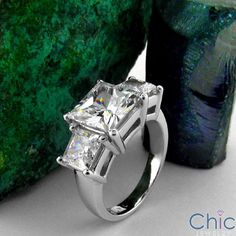 Total Carat 3 Princess Cuts in Prongs white gold setting. Past present future ring. Diamond Gemstone, Diamond Rings, Cubic Zirconia Rings, Three Stone Rings, Quality Diamonds, Princess Cut, Rings For Men, White Gold, Jewelry