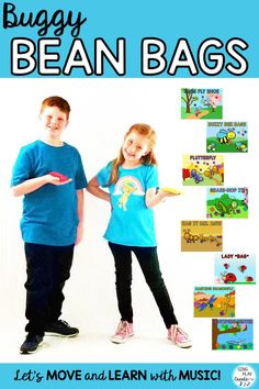 "BUGGY BEAN BAG ACTIVITIES are perfect for the music and preschool classrooms. Show students the ""bug"" pictures and then play a fun bean bag game that will help all students connect music and movement skills while developing gross and fine motor skills. #beanbagactivities #beanbaggames #elementarybeanbaggames #musicandmovement #singplaycreate #bearpawcreek #musiceducation #beanbagmusic #bearpawcreek #singplaycreate #elementaryscarfactivities #musicandmovement #movementandspecialneeds"