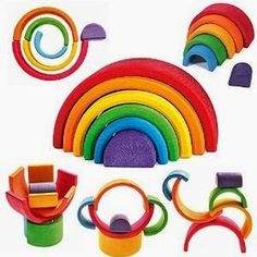 """Grimm's Rainbow Stacker - Nesting Wooden Waldorf Blocks, """"Elements"""" of Nature: AIR Grimm's Toys, Baby Toys, Kids Toys, Rainbow Blocks, Rainbow Wood, Rainbow Art, Toddler Gifts, Gifts For Kids, Gender Neutral Toys"""