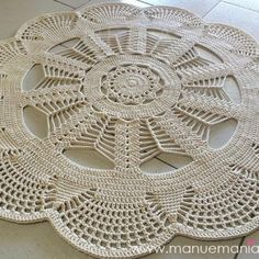 : Emily Mega Doily Rug is Here. Filet Crochet, Crochet Mat, Crochet Carpet, Crochet Dollies, Crochet Motifs, Crochet Round, Crochet Squares, Crochet Home, Thread Crochet