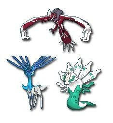 Pokemon Yggdrasil Trio; from top to bottom: Yveltal ...