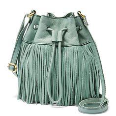 Fossil Jules Fringe Leather Drawstring Mini Bucket Bag --- want this bag! Fringe Handbags, Fringe Bags, Fringe Purse, Green Handbag, Green Purse, Leather Purses, Leather Handbags, Leather Bags, Leather Drawstring Bags