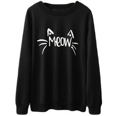 Halife Women's Cute Cat Face and Meow Letter Print Lightweight... (55 RON) ❤ liked on Polyvore featuring tops, hoodies, sweatshirts, lightweight tops, initial sweatshirt, lightweight sweatshirts, cat sweatshirt and cat print top