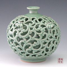 Celadon Leaf Green Jar with Double Layered Openwork Design - Antique Alive