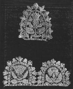 Scallop shaped British needle lace fragments 1600-1629