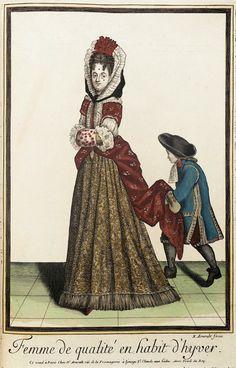 Recueil des modes de la cour de France, 'Dame de Qualité en Manteau'  by Nicholas Bonnart, 1682-1686   My mantua dreams are not new, but...