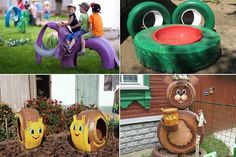 25 ways to recycle old tires Kids Outdoor Play, Outdoor Play Areas, Kids Play Area, Outdoor Fun, Tire Playground, Natural Playground, Playground Games, Tired Animals, Animals For Kids