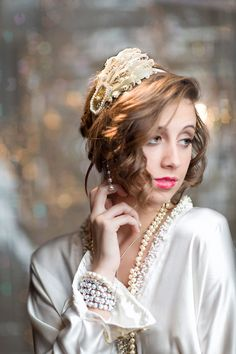Gold Great Gatsby Headpiece 1920s Flapper Headband Wedding Party Downton Abbey Beaded Fascinator with Cream Brown Feathers Champagne Ribbon on Etsy, $35.00