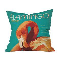 Flamboyant Flamingo Pillow Cover   dotandbo.com for @Knobleg529 noble, not a graphic print, but definitely belongs on the lanai!
