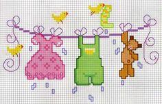 Bucato con uccellini e un orsetto - punto croce - cross Stitch - Kreuzstich - Punto de Cruz
