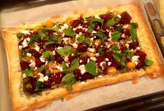 Filo pastry with pesto, beetroot, feta and mint