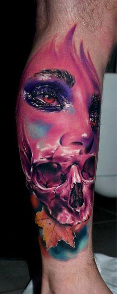 http://tattooideas247.com/face-skull/ Pink Face & Skull #AdamVanDame, #Face…