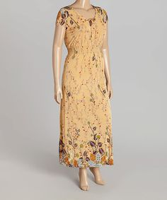 Love this Peach Floral Shirred Maxi Dress - Plus on #zulily! #zulilyfinds