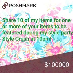 TOMORROW AT 10PM I'm a host in my first posh party!! For a chance to be featured please share 10 of my items and I will personally go through your closet and share items to the party! Bags