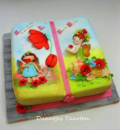 Fairy Book Cake For a little girl who loves fairies!Fairies made out of fondant and painted and dust the background :-) Unique Cakes, Creative Cakes, Cupcakes, Cupcake Cakes, Beautiful Cakes, Amazing Cakes, Open Book Cakes, Fairy Birthday Cake, 5th Birthday