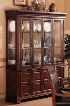 China Cabinet Buffet Hutch Old West Style Dark Brown Finish By Coaster Home Furnishings 117291