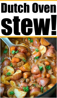 Dutch Oven stew is hearty & will bring you back to your childhood! Packed with tender beef and vegetables it's the perfect dinner or camping meal. #dutchovenstew #beefstew dutchovenrecipes