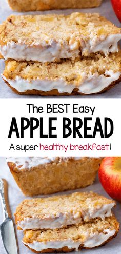 The best homemade cinnamon apple bread recipe, for a healthy breakfast Green Apple Recipes, Apple Recipes Easy, Apple Dessert Recipes, Quick Bread Recipes, Vegan Desserts, Baking Recipes, Healthy Apple Desserts, Apple Recipes For Dinner, Autumn Apple Recipes