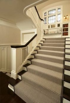 Appealing Decorative Stairway Carpet — Railing Stairs and Kitchen Design Stairway Carpet, Carpet Stair Treads, Stair Rugs, Stair Handrail, Carpet Stairs, Wall Carpet, Banisters, Bedroom Carpet, Basement Carpet