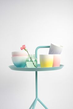 watercolor-esque colorful gradient tableware. amsterdam self designed collection of home accessories. via apartmenttherapy.