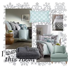 Teal and Grey Bedroom by allthatglitters810, via Polyvore