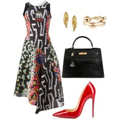 Helia's style theory by heliaamado on Polyvore featuring Peter Pilotto, Christian Louboutin, Hermès, Kenneth Jay Lane and LeiVanKash