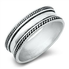 Bali Rope Oxidized Thin Thumb Ring New .925 Sterling Silver Band Sizes 6-13