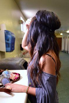 love her hair.sometimes I miss having dark hair. My Hairstyle, Messy Hairstyles, Pretty Hairstyles, Headband Hairstyles, Wedding Hairstyle, Love Hair, Great Hair, Gorgeous Hair, Awesome Hair
