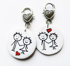 Meska - valentin napi ajándék férfiaknak és nőknek - kulcstartó csermakdesign kézművestől