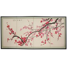 Silk and Wood 36-inch Plum Blossom Wall Hanging (China) | Overstock.com