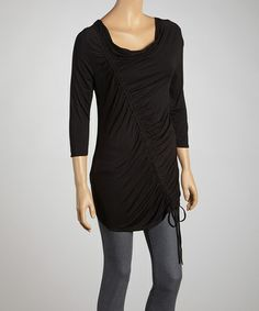 Look what I found on #zulily! Black Asymmetrical Ruched Top - Women by Zashi #zulilyfinds
