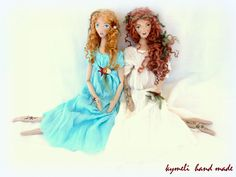 Nymphs Glauce and Arethousa OOAK Art Doll by kymeli Nymphs, Princess Zelda, Disney Princess, Soft Dolls, Etsy Seller, Disney Characters, Unique, Creative, Handmade