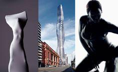 Premier Tower por Elenberg Fraser y capturas de pantalla del vídeo Ghost de Beyoncé.