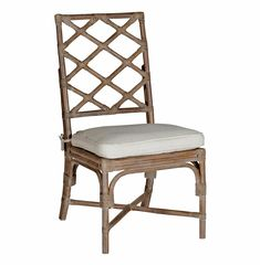 Kennedy Lattice Back Regency Style Linen Rattan Dining Chair- Set of 2 | Kathy Kuo Home