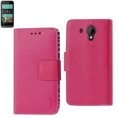 Reiko Wallet Case 3 In 1 For HTC Desire 520 Hot Pink With Interior Zebra Pattern+Polymer Cover