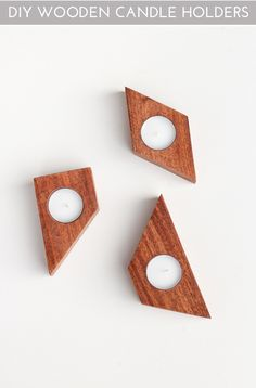 Geometric and modern DIY Wooden Candle Holders. A beautiful detail to add in your home!