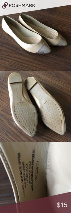 """Antonio Melani Matilda Flats Antonio Melani Matilda Flats, size 8M. NWOT, tried on a few times but never worn. They fit a little wide. Light Camel color, almost nude, with silver-ish toes and slight .5"""" heel. ANTONIO MELANI Shoes Flats & Loafers"""