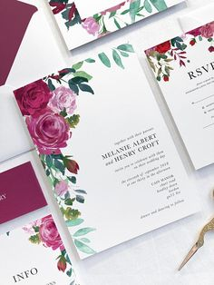 These red rose wedding invitations are perfect for any modern wedding. The watercolour flowers are beautiful and bold, with stunning red and pink tones. The traditional yet minimalist font, makes for a truly elegant and classic aesthetic. You cannot go wrong with our Red Rose suite. #moderntraditionalweddinginvitations