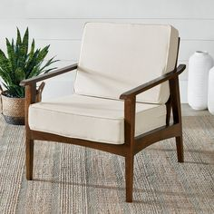 Instill your home with the understated ease mid-century design is known for, and get the ultimate comfort you're looking for today. Mango wood frame is sleek and sturdy. Seat and back cushions are generously padded for extra support. Easily change the look, over time, with a new set of cushions. Leather Club Chairs, Chair And A Half, Beautiful Living Rooms, Mortise And Tenon, Living Room Inspiration, Mid Century Design, Chair Cushions, Modern Chairs, Accent Chairs