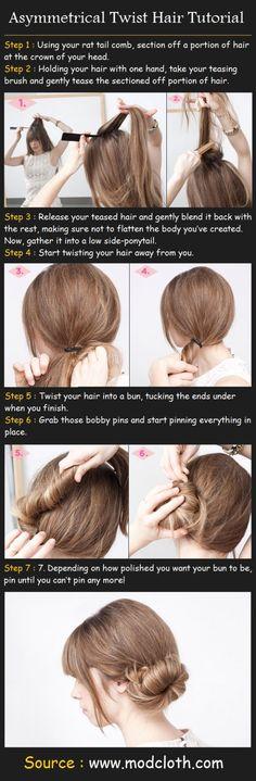 Asymmetrical Twist Hair Tutorial