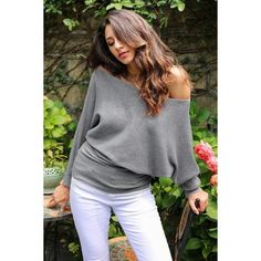Off shoulder sexy elastic knitting pullover female Bat long sleeve knitted sweater women Fashion jumper pull knit shirt Cute Sweaters For Fall, Sweaters For Women, Funky Fashion, Fashion Fashion, Fashion Ideas, Fashion Inspiration, Knit Shirt, Outerwear Women, Pullover Sweaters