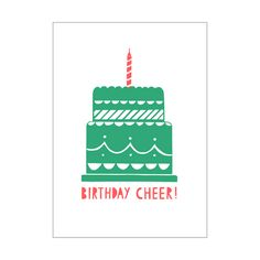 £2.10 Birthday cheer! A great birthday card for both adults and kids, this is a bold and fun green and red birthday cake design. Designed by Alison Hardcastle, a British illustrator, designer and printmaker.