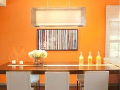 61 Trendy Ideas For Living Room Decor Orange Walls Kitchen Colors Decor, Kitchen Colors, Dining Room Interiors, Luxury Dining Room, Kitchen Wall Colors, Home Decor, Luxury Dining, Room Colors, Orange Dining Room