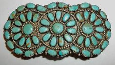 Sterling Vintage Barrette Hair Clip LMB Larry Moses Begay Turquoise Petit Point