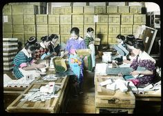 Girls packing tea in paper bags Enami Studio Lantern Slide. About 1920's, Japan