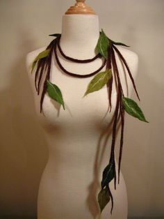 Elven natural looking Felted necklace liana merino wool, brown, green and green forest