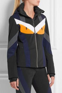 Fendi - Leather-trimmed Padded Ski Jacket - Black - IT38