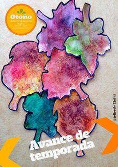 Acuarela con toallitas húmedas y rotuladores de colores en hojitas de otoño